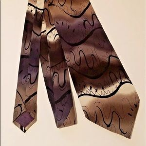 Abstract Thistle Ghost Necktie Black Gray